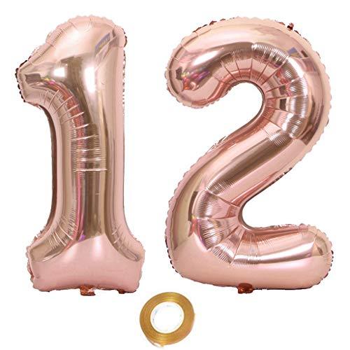 Palloncini a forma di numero 12, numero 12, in oro rosa, per ragazze, 12° compleanno, palloncini in pellicola, numero 12 oro rosa numero 12 palloncini grandi, 40 pollici giganti pellicola di elio