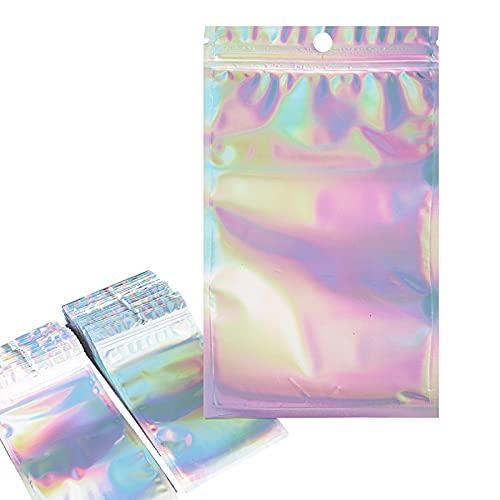100pcs 12x20cm Bolsas de Almacenamiento Plásticas a Prueba de Olores Resellables Bolsitas de Aluminio con Cierre Autocierre para Almacenaje Lazos Caramelo Galleta Bombones Regalos Joyas