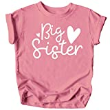 Olive Loves Apple Cursive Big Sister Hearts Sibling Reveal T-Shirt for Baby and Toddler Girls Sibling Outfits Mauve Shirt