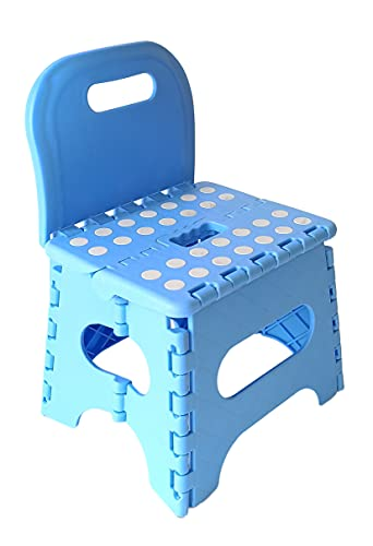 TETI`S Ducks Home - Silla Infantil Ideal para los pequeños - Taburete PVC Plegable con Respaldo, escalón, banqueta.(Azul)