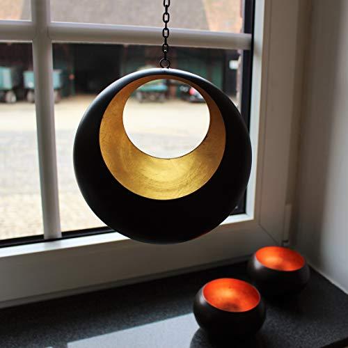 Portavelas de té colgante, diseño de círculos, color bronce y dorado, para colgar, decoración hecha a mano