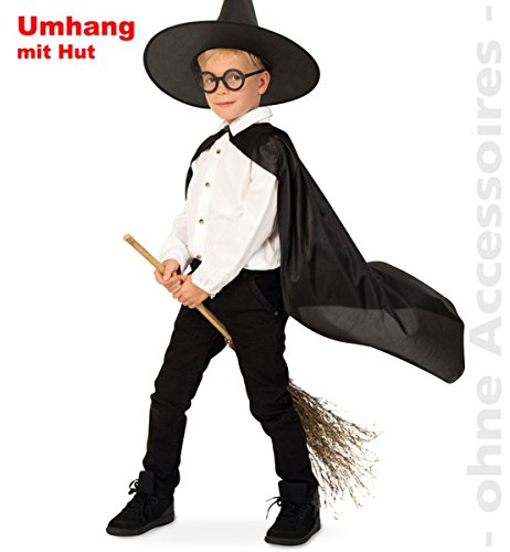Halloween Party Kinder Kostüm Zauberlehrling Zauberer Gr. 152 -164 m.Hut