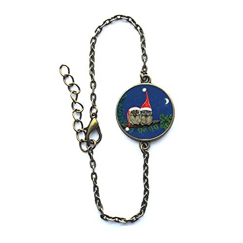 Pulsera de búho, pulsera de pájaro de búho, regalo de joyería, brazalete de encanto caprichoso, pulsera de uso diario, regalo de vacaciones # 99