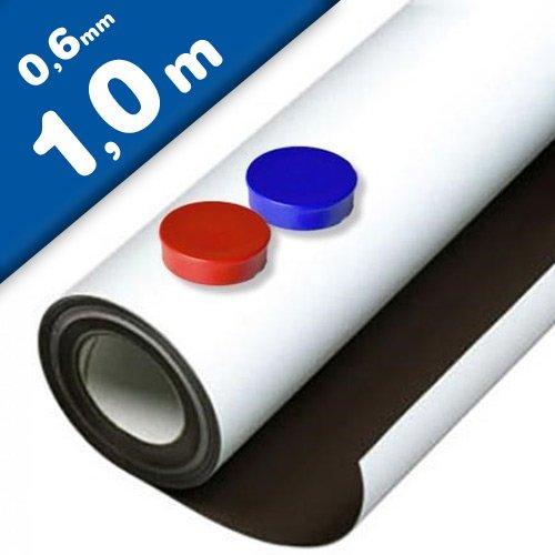 Lámina de hierro blanco mate autoadhesiva 0,6mm x 62cm x 1m - Ideal para la creación de tableros y todo tipo de aplicaciones innovadoras en las que se utilizan imanes