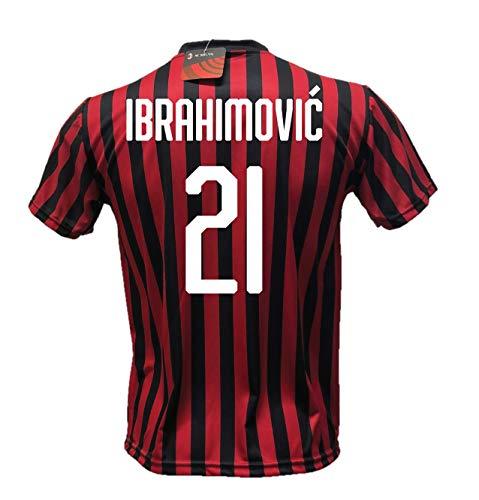 DND D'Andolfo - Camiseta de fútbol Zlatan Ibrahimovic 21 Milan, réplica autorizada 2019-2020, tallas de niño y adulto