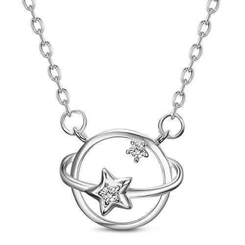 Halskette mit Anhänger Sterling-Silber 925 Stern Planet Saturn verstellbar 40,6 bis 45,7 cm inklusive Geschenkbox
