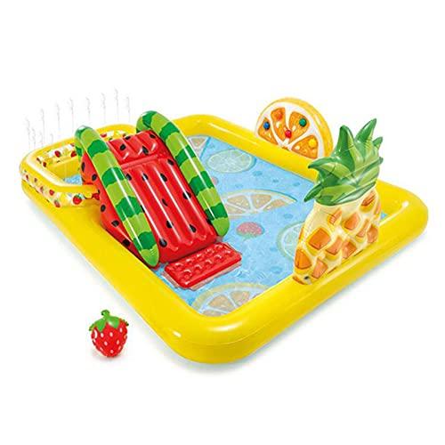 FYHpet Centro de Juegos Inflable, Diapositiva Agua Centro Juego Fiesta al Aire Libre, Piscina vadear con para niños, jardín, 244 × 191 91cm