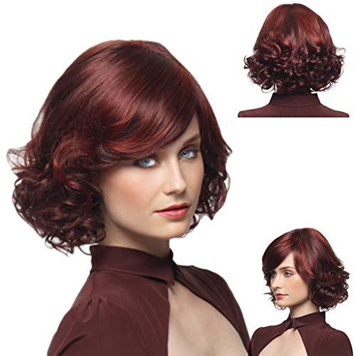 Coloré(TM) Wig Perruque avec des cheveux de bébé Cheveux humains Full End Short Bob Perruques pour les femmes noires (Rouge)