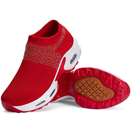Mishansha Zapatillas Deportiva Mujer Deportes Running Zapatos Ligero Transpirable Correr Gimnasio Bambas Rojo C N, Gr.38 EU