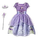 Familycrazy Princes Costume Dress with Tiara, Wand for Birthdays, Halloween, Parties,Children's Day Pink-Purple