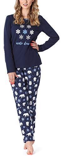 Merry Style Pijama Conjunto Camiseta y Pantalones Ropa de Cama Mujer MS10-169 (Azul Oscuro Oso, S)