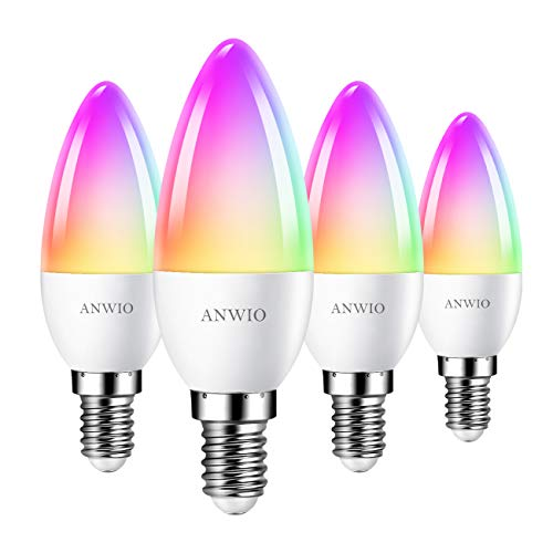 ANWIO E14 Smart LED Kerzenlampe RGB Dimmbar LED Leuchtmittel Wlan Birnen C37, 6W ersatz für 40W, 470LM, kompatibel mit Alexa, Echo and Google Assistant, dimmbar via Tuya/Smart Life App (4er Pack)