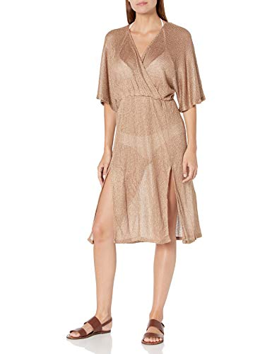 BCBGMAXAZRIA Women's V-Neck Front Tunic Swimsuit Cover Up, Gold//Luxe Resort, X-Large