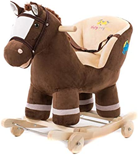 HUXIUPING Schaukelpferd Baby Schaukel Warenkorb Alter Geschenk Massivholz Dual-use-Musik Baby Spielzeug Trojaner Kind