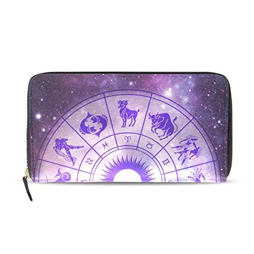 Carteras para Mujer 12 Casas Zodiac Tarot Cuero Pasaporte Billetera Monedero niñas Bolsos