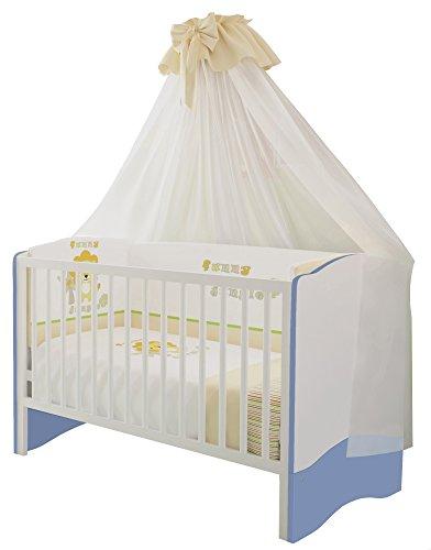 Polini Kids Kombi-Kinderbett 140 x 70 cm weiß-blau Mitwachsend, Babybett ist umbaubar zum Jugendbett, 2-fach höh.