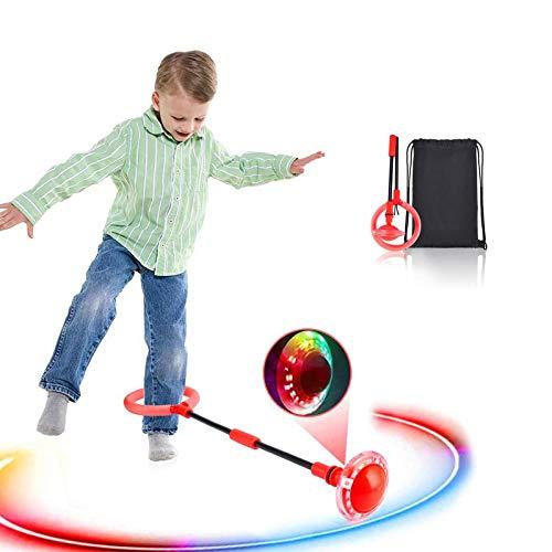Boyigog Bola de Salto de Tobillo, LED Swing Bolas, Balones Saltadores, Aro de Salto Luminoso Plegable Apto para Que Niños y Adultos Hagan Ejercicio en Casa(Rojo-brillará)