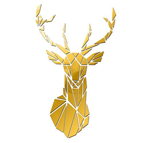 Gazechimp Etiquetas Engomadas de Acrílico de La Pared del Espejo 3D Etiquetas Engomadas Grandes de La Cabeza de Ciervo Etiquetas Engomadas de La Pared - de Oro, Individual