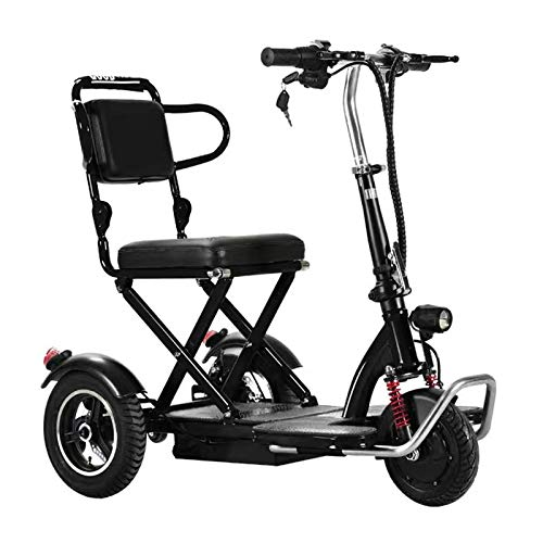 LanPerro 3-Wheel Mobility Scooter, Elderly/Disabled/Outdoor Travel Electric Scooter, Portable Lightweight Electric Power Wheelchair, Support 150Kg Weight,Black