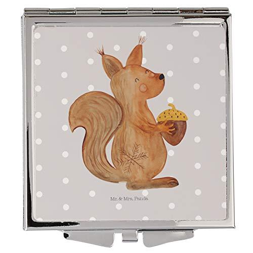 Mr. & Mrs. Panda schminken, Silber, Handtaschenspiegel quadratisch Eichhörnchen Weihnachten - Farbe Grau Pastell