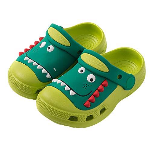 95sCloud Kinder Clog Pantoletten Dinosaurier Schuhe Sandale Badeschuhe Rutschfeste Mädchen Jungen Latschen Slippers mit Cartoon Sommer Strandschuhe Pantoletten Geschlossene Hausschuhe (Grün, 3.5-4Y)