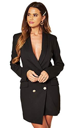 UNIQUE21 Women Luxe Stain Breasted Asymmetric Blazer Dress - Ladies Elegant Casual Work Office Events Blazer Dresses (8, Black, Numeric_8)