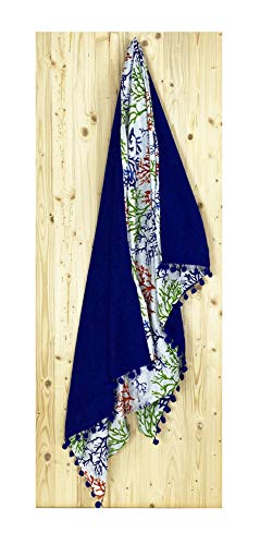 tex Family - Toalla de playa doble Kikoy Coralli azul de algodón y esponja con mochila Keep