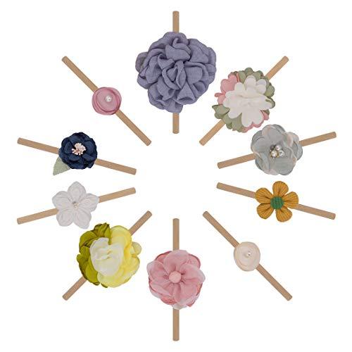 Baby Haarband, SenPuSi 10 Stück Baby Stirnbänder Mädchen Stirnband Haarbänder mit Elastsichem,Blumen Blüte Haarschmuck Weich Kopfband Neugeborenen Headwrap für Babyschmuck Babygeschenke & Taufe