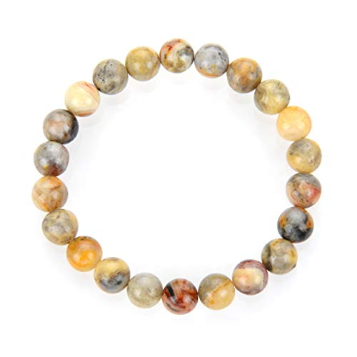 Natural Crazy Lace Agate Gemstone Bracelet 7 inch Stretchy Chakra Gems Stones Healing Crystal Birthday Gift (Unisex) GB8-53