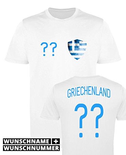Comedy Shirts - Griechenland Trikot - Wappen: Klein - Wunsch - Damen Trikot - Weiss/Blau Gr. M