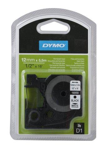 DYMO Beschriftungsband D1 16959 / 12 mm / Druck schwarz / Band weiß / für DYMO Pocket, 1000+, 2000, 3500, 4500, 5500, LM 100/100+/120P/150/160/200/210D/220P/260P/280/300/350/350D/360D/400/420P/450/450D/500TS/II/PC/PC II/PnP/PnP WiFi, LabelWriter 450 DUO, LP 100/150/200/250/300/350