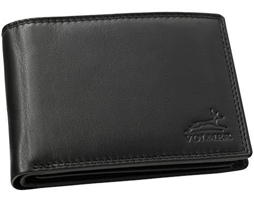 Fa.Volmer ® Schwarze Herren Geldbörse echt Leder Querformat mit RFID Schutz