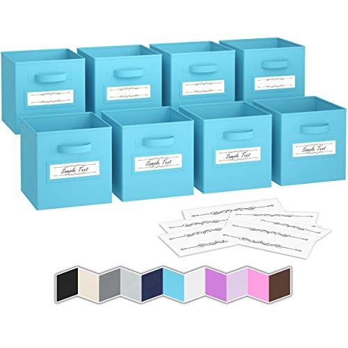 Royexe - Storage Cubes - Set of 8 Storage Baskets  Features Dual Handles 10 Label Window Cards  Cube Storage Bins  Foldable Fabric Closet Shelf Organizer  Drawer Organizers and Storage Blue