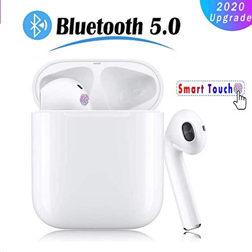 Auriculares Inalámblicos Bluetooth 5.0 Cascos,Mini TWS Sin Cable Cascos In-Ear con Micrófonos Dual, Audífonos Deportivos con Caja de Carga 24 hrs,IPX5 a Prueba de Sudor,Emparejamiento automático