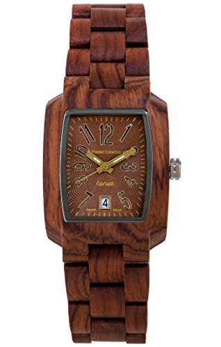TENSE Holzuhr Herren Katalox Ø 35 mm Armbanduhr Timber analog Quarz J8102R-BR