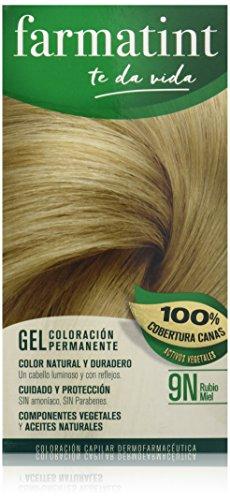 Farmatint Gel 9N Rubio Miel | Color Natural y Duradero | Componentes Vegetales y Aceites Naturales | sin Amoníaco | Sin Parabenos | Dermatológicamente Testado