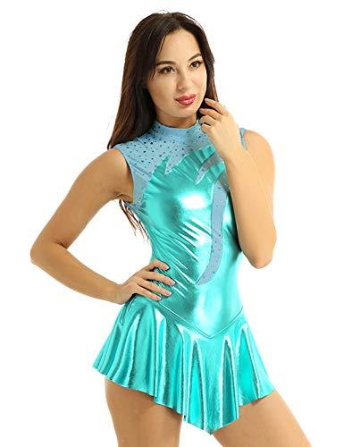 YOOJIA Damen Ballettanzug Ärmellos Metallic Ballettkleid mit Stehkragen Tanzkleid Glänzend Eiskunstlauf Eislaufkleid Gymnastikanzug See Blau X-Large
