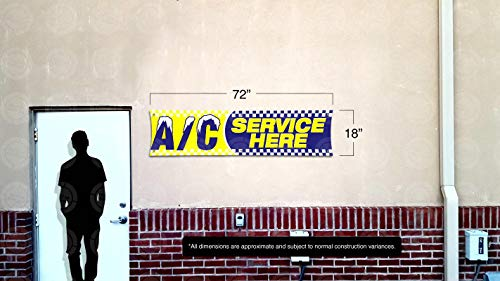 AC Service HERE Banner (6ft X 18 inches) Open Sign Display Auto Repair Shop Mechanic Car Truck Service Photo #3