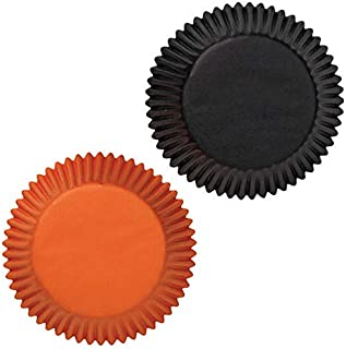 50 Black & Orange Paper Cupcake Baking Liner Cups - Halloween Party Standard Size Cup Cakes