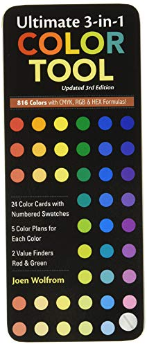 Ultimate 3-In-1 Color Tool: -- 24 Color Cards with Numbered Swatches -- 5 Color Plans for Each Color -- 2 Value Finders Red & Green: • 24 Color Cards ... • 816 Colors with Cmyk, Rgb & Hex Formula