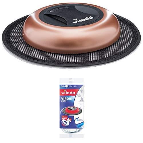 Vileda Virobi Slim - Robot limpiador mopa autónomo, color rose + 136038 Gamuza de Recambio para Robot Limpiador, Pack de 20, Blanco
