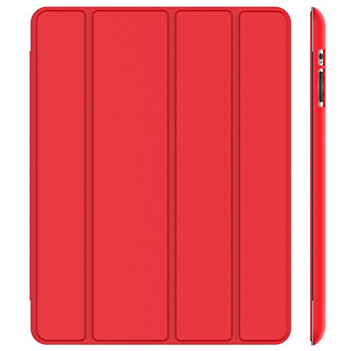 JETech Hülle Kompatibel iPad 4, iPad 3 & iPad 2, Schutzhülle mit Ständer Funktion & Auto Schlaf/Wachen, Rot