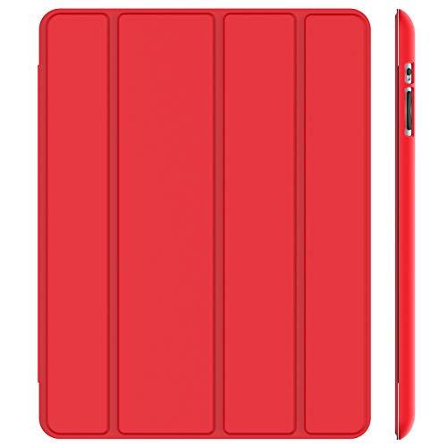 JETech Funda para iPad 4, iPad 3 y iPad 2, Carcasa con Soporte Función, Auto-Sueño/Estela (Rojo)
