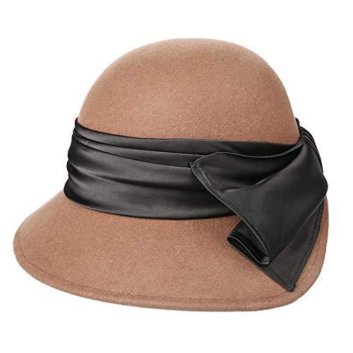 Sombreros de Lana Arcos Temporadas Sombreros de Lana Moda Casual Retro Recorte cálido Gorros de Piel de Oveja Hembra marrón Oscuro