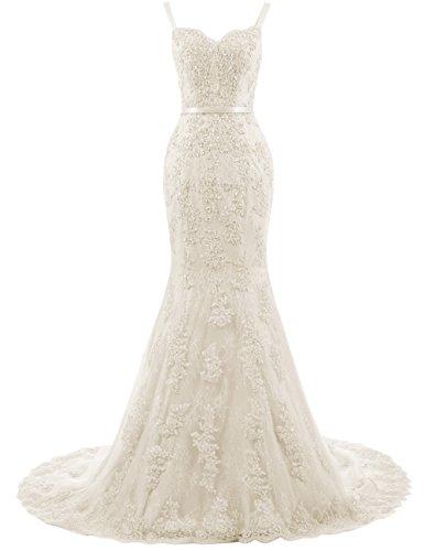 Ballkleider Lang Damen Abendkleider Hochzeitskleider Meerjungfrau Spitze mit Träger Champagner EUR34