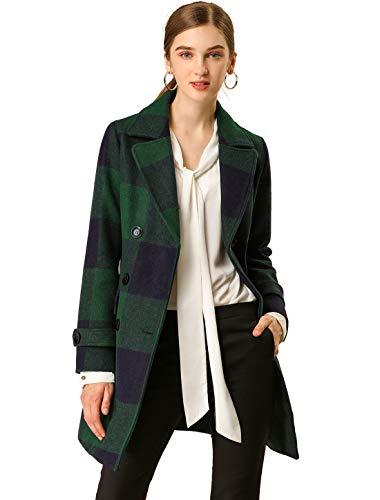 Allegra K Damen Langarm Zweireiher Colorblock Karo Trenchcoat Mantel Navy Blau Grün L