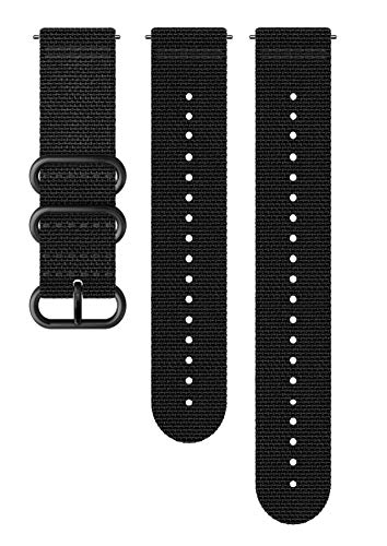 Suunto SS050228000 Correa de sustitución original para todos los relojes Suunto Spartan Sport WRH y Suunto 9, Textil, largo: 24,4 cm, ancho: 24 mm, incluye pasadores de fijación, negro/negro