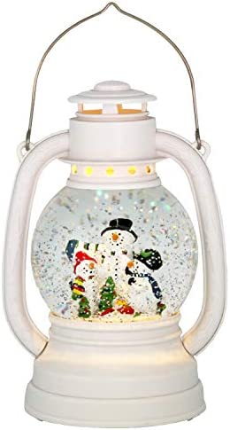 Wondise Christmas Snowman Snow Globe Lantern Battery Powered with 6 Hour Timer Glitters and product image