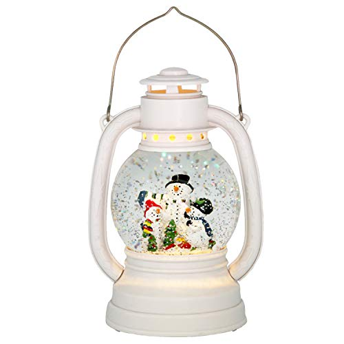 Eldnacele Christmas Snow Globe Lantern Spinning Water Glittering Snowman Scene with 6 Hours Timer, Lighted Water Globe Lantern White Snowman Family for Christmas Decorationa and Gifts(Snowman) (Christmas Snowglobe)