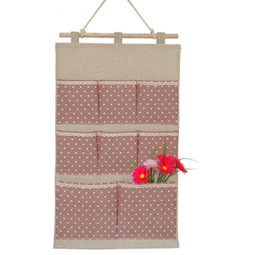 BAINA Hängende Aufbewahrungsbeutel Baumwollgewebe Wandtasche Badezimmer Home Decorating Makeup Organizer 6 Tasche Rosa